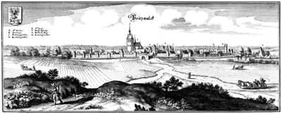 Stich von Matthäus Merian von 1652 zeigt die Pritzwalker Stadtmauer mit den Stadttoren. (Museum Pritzwalk)