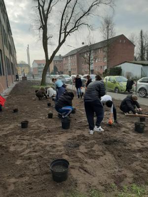 Fotoalbum Gartenarbeit: Unsere Schüler gestalten die Beete auf dem Schulgelände