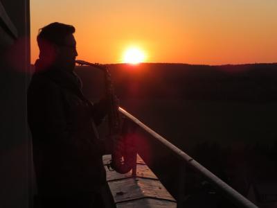 Fotoalbum Turmblasen vom Kirchturm mit Jörg Hausmann am Vorabend zum Palmsonntag