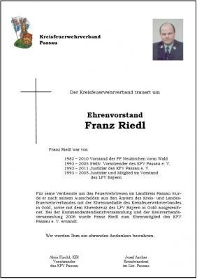 Fotoalbum Traueranzeige für Franz Riedl