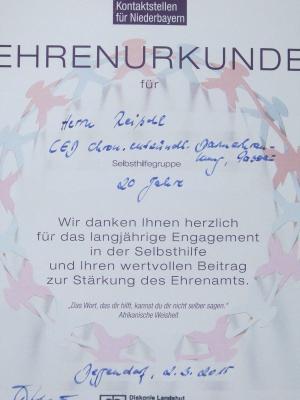Fotoalbum Ehrung 20 Jahre SHG CED Passau