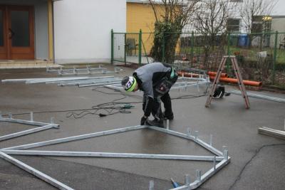 Fotoalbum Fahrradüberdachung Aufbau