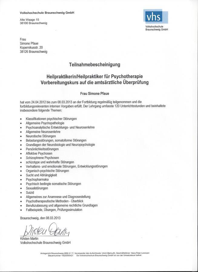 Heilpraktikerin für Psychotherapie - Praxis Pfaue - Zertifikate