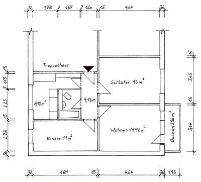 Grundriss der rechten Wohnung