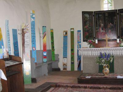 Ausstellung von Seelenbrettern anläßlich des Erlebnistages in Stolzenhain am 24. Juni 2006