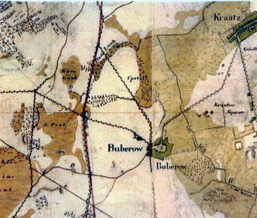 Historisches Wegenetz von Buberow. Preußische Landesaufnahme: Urmeßtischblatt. Topographische Karte 1 : 25000 1825.