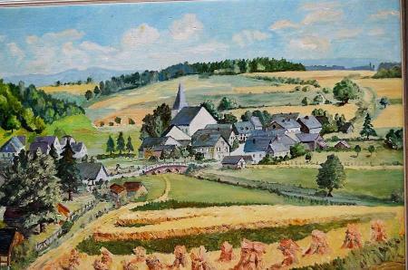 Ansicht von Ohlweiler 1959 - gemalt von Lehrer Kickel