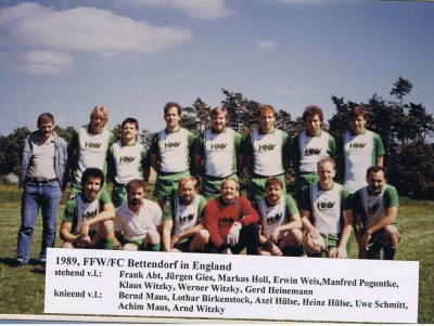 Bettendorfer Feuerwehrfußballer in England,1989