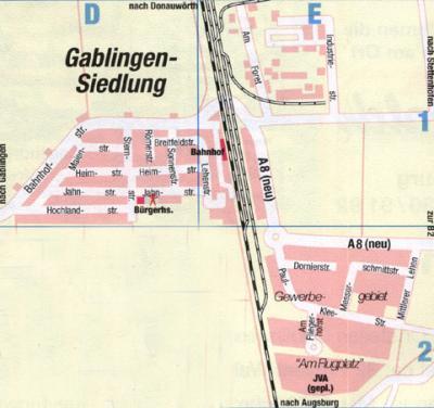 Ortsplan Gablingen-Siedlung