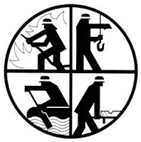 Signet: es stellt sinnbildlich die Tätigkeiten der Feuerwehren dar: Brandbekämpfung - Technische Hilfe - Katastrophenschutz - Rettungsdienst (löschen - bergen - retten - schützen)