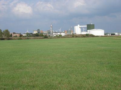Blick über die Wiesen auf die Zuckerfabrik Brottwitz
