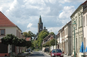 Blick auf die Kirche von Fehrbellin