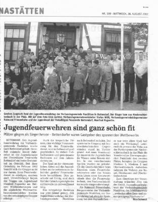 Foto zur Meldung: August 2002 - 10 Jahre Jugendfeuerwehr