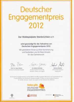 Ehrenurkunde Deutscher Engagementpreis 2012