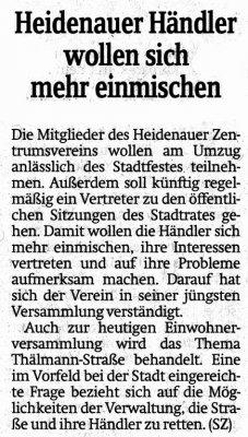 Foto zur Meldung: Sächsische Zeitung: Heidenauer Händler wollen sich mehr einmsichen