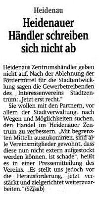 Foto zur Meldung: Sächsische Zeitung: Heidenauer Händler schreiben sich nicht ab