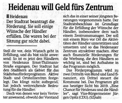 Foto zur Meldung: Sächsische Zeitung: Heidenau will Geld für´s Zentrum