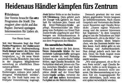 Foto zur Meldung: Sächsische Zeitung: Heidenaus Händler kämpfen fürs Zentrum
