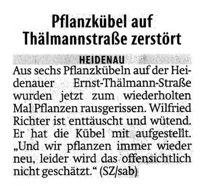 Foto zur Meldung: Sächsische Zeitung: Pflanzkübel auf Thälmannstraße zerstört