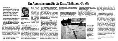 Foto zur Meldung: Sächsische Zeitung: Ein Aussichtsturm für die Ernst-Thälmann-Straße