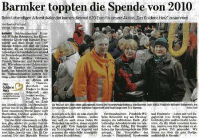 Foto zur Meldung: Das Goldene Herz - eine gelungene Aktion im Rahmen des Lebendigen Adventskalenders im Helmstedter Ortsteil Barmke
