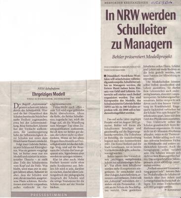 Vorschaubild zur Meldung: Ehrgeiziges Modell / In NRW werden Schulleiter zu Managern