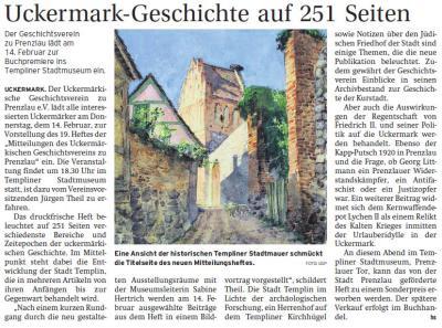 """Vorschaubild zur Meldung: Vorstellung des 19. Heftes der """"Mitteilungen des Uckermärkischen Geschichtsvereins zu Prenzlau"""""""