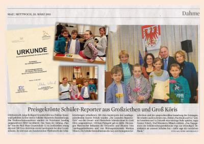 Foto zu Meldung: Preisgekrönte Reporterkids