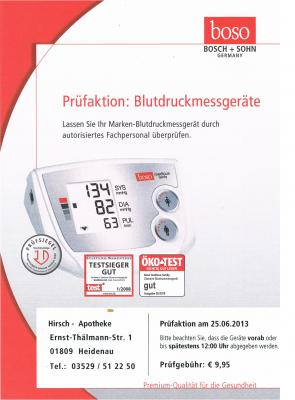 Foto zur Meldung: Messtechnische Kontrolle Ihrer Blutdruckmessgeräte in Ihrer Hirsch-Apotheke