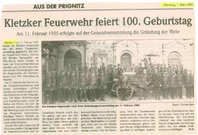 Foto zur Meldung: Kletzker Feuerwehr feiert. 100. Geburtstag