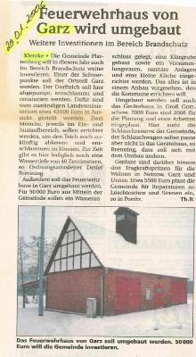 Foto zu Meldung: Feuerwehrhaus von Garz wird umgebaut