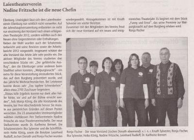 Eilenburger Amtsblatt: Laientheaterverein Nadine Fritzsche ist die neue Chefin