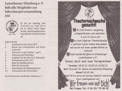 Vorschaubild zur Meldung: Eilenburger Amtsblatt: Laientheater Eilenburg e. V. lädt alle Mitglieder zur Iahreshauptversammlung ein!