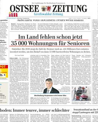 Vorschaubild zur Meldung: OSTSEEZEITUNG - Im Land fehlen Wohnungen für Senioren