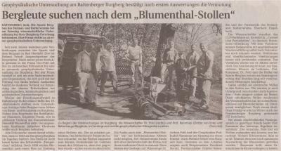 """Foto zu Meldung: Bergleute suchen nach dem """"Blumenthal-Stollen"""""""