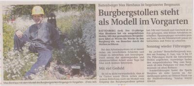 Foto zu Meldung: Burgbergstollen steht als Modell im Vorgarten