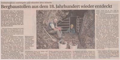 Foto zu Meldung: Bergstollen aus dem 18. Jahrhundert wieder entdeckt