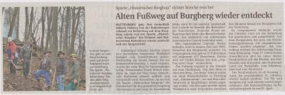 Foto zu Meldung: Alten Fußweg auf Burgberg wieder entdeckt