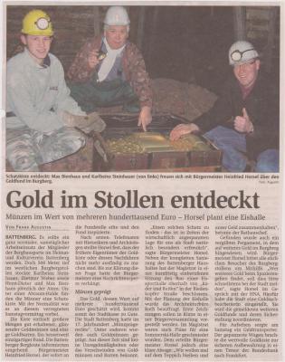 Foto zu Meldung: Gold im Stollen entdeckt