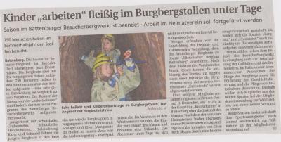 """Foto zu Meldung: Kinder """"arbeiten"""" fleißig im Burgbergstollen unter Tage"""