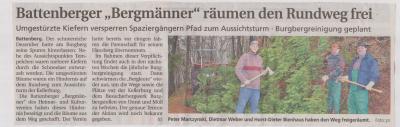"""Foto zu Meldung: Battenberger """"Bergmänner"""" räumen den Rundweg frei"""