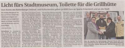 Foto zu Meldung: Licht fürs Stadtmuseum, Toilette für die Grillhütte