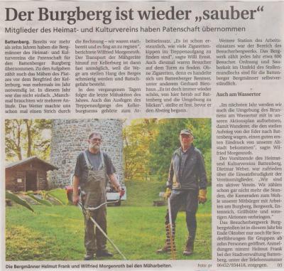 """Foto zu Meldung: Der Burgweber ist wieder""""sauber"""""""