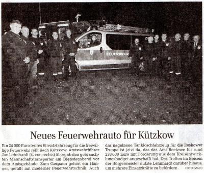 Foto zu Meldung: Neues Feuerwehrauto für Kützkow