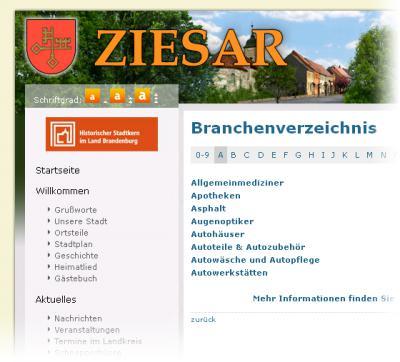 Foto zur Meldung: Das Branchenbuch auf ziesar.de