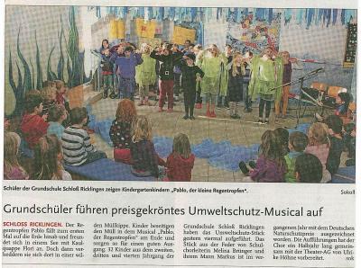 Vorschaubild zur Meldung: Leine-Zeitung: Grundschüler führen preisgekröntes Umweltschutz-Musical auf