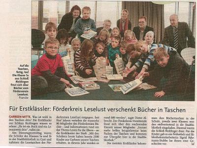 Vorschaubild zur Meldung: Leine-Zeitung: Förderkreis Leselust verschenkt Bücher in Taschen