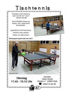Vorschaubild zur Meldung: TSV Selk Sportangebot: Tischtennis