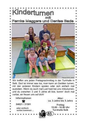 Foto zur Meldung: TSV Selk Sportangebot: Kinderturnen 3-5 Jahre