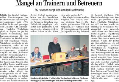 Foto zur Meldung: Jahreshauptversammlung des FC Hevesen